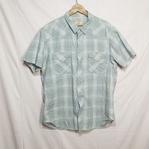 Lucky Brand western plaid pearl snap shirt Large